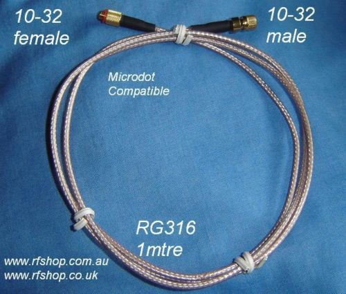 Microdot compatible connector cable assembly, male to female , RG316, 1 metre-0
