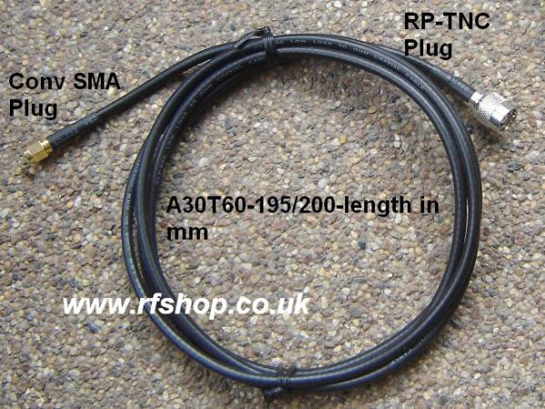 A30T60-195/200-2000, SMA conv male pin, RP-TNC (female pin), 195 Cable, Length = 2m, loss at 2.45GHz < 1.8dB-0