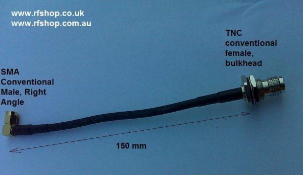 TNC Bulkhead Conventional Female to SMA Conv. Male RA low loss 200 cable 150mm-0