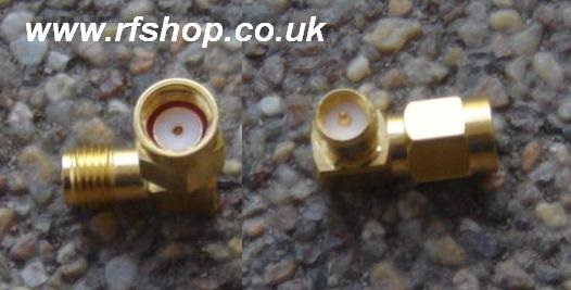 Adapter - RP-SMA Plug (female pin) to RA-SMA Jack (Male pin) Right Angle A6A9-0
