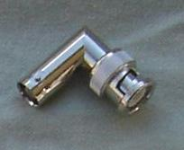 Adapter - BNC Plug (Male pin) to BNC Jack (Female pin), Right Angle CH-BP-BJ-RA-0
