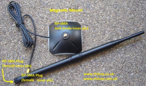 Antenna, 2.4GHz. 7dBi, RP-SMA, Mag Mount-0