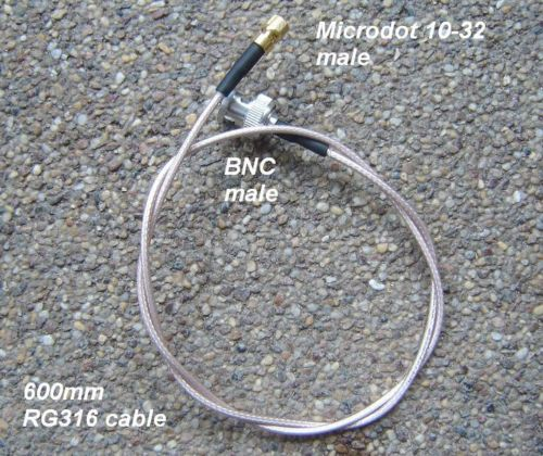BNC to Microdot connector cable assembly , RG316, 60cm, 2 ft-0