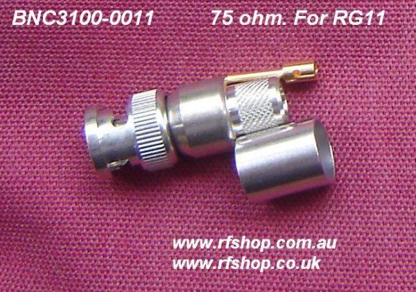 JyeBao BNC Plug (Male pin) suit RG11, 75 ohms, BNC3100-00011-0