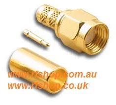 SMA Plug, male pin,Cmp, Fits LMR195, RG58-0