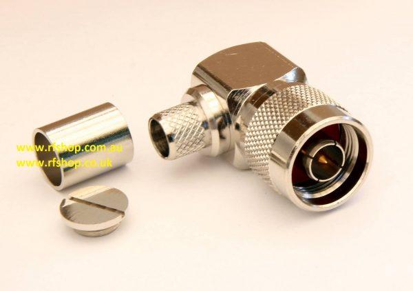 N Plugs, male pin,Cmp, RA, Fits LMR400, RG213, RG214-0