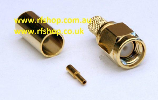 SMA Plug, RP, female pin,Cmp, Fits LMR195, LMR200, RG58-0
