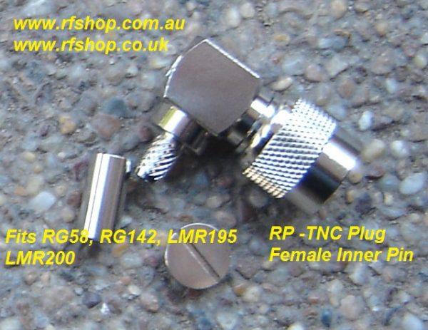 TNC Connector, RP, Crimp, Right Angle, LMR200, LMR195, RG58, (RG142)-0