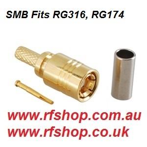 SMB Plug Fits RG316, RG174-0