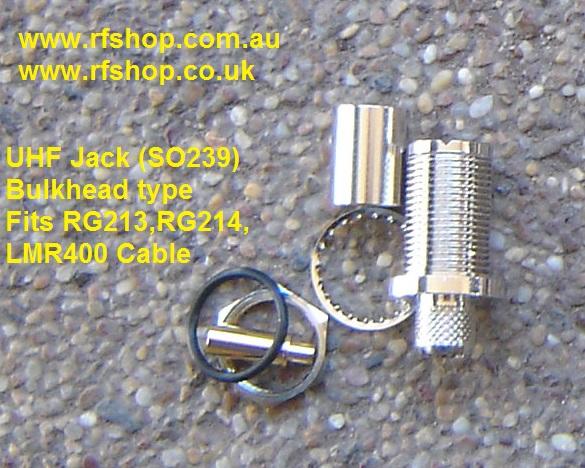 UHF Jack (female pin) suit RG213. RG214, LMR400, Bulk head-0