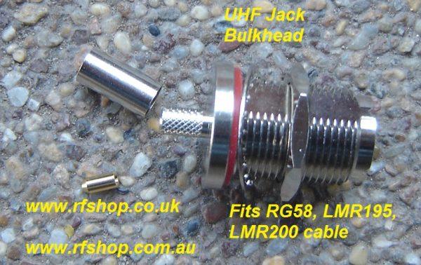 UHF jack (female pin) Bulkhead suit RG58, LMR200, LMR195-0