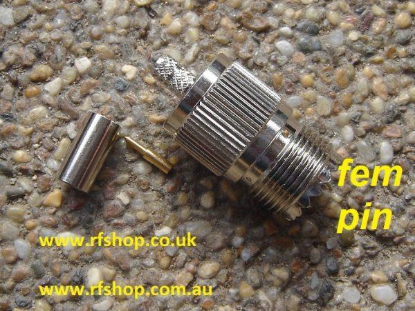 UHF Jack, female SO239, Crimp, Fits LMR195, LMR200, RG58 CH-UHFJ-58-0