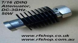 Attenuators, High Power, Coaxial, 7_16 DIN type, 50W DC - 3GHz, 30dB, CAT-50W-DINf-DINm-3G-30dB-0