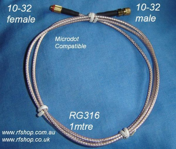 Microdot Compatible, male/female, extension lead, Rg316, 1 mtre MD30MD80-316-1000-0