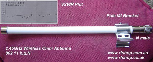 7dBi 2.45 GHz Mini Omni with N Plug MOA-2450-07N-M-0