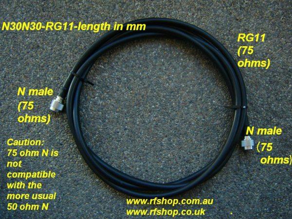 N (75 ohms) to N (75 ohms), RG11, 2 mtrs N30N30-RG11-2000-0