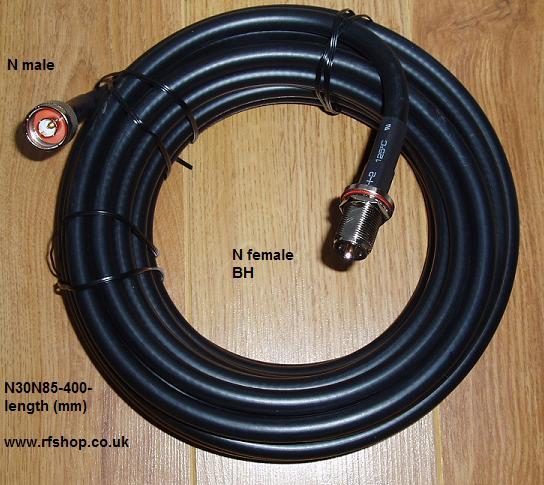 N Plug to N Bulkhead Jack, 400 series cable, 15m N30N85-400-15000-0