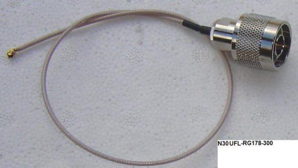 UFLN30-178-300, UFL, N male Plug, RG178 Cable, Length = 300mm-0