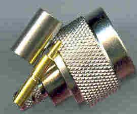 N3100-05DF, N connector, male pin, crimp, 5D-FB, RG6-0