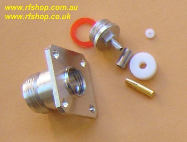 N connector, fem pin, panel mount, RG316, RG174, RG188, LMR100 crimp N8146-0316-0