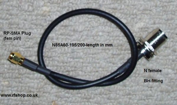 N Bulkhead Jack to RP SMA Plug, 200 series cable, 1500mm N85A60-200-1500-0
