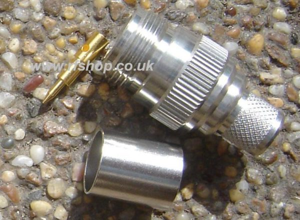N connector, Reverse Polarity male pin pin, fits fits LMR400, RG213, RG214 LMR400, crimp TC-400-NF-RP equiv N9100-L400-0