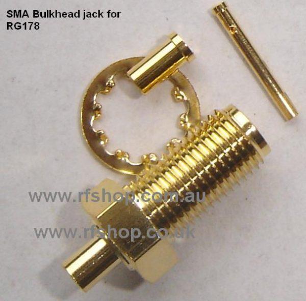 SMA Connector, RG178, conventional fem pin, panel mount, CH-SMAJ-0178-0