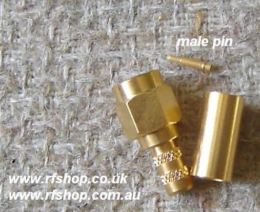 SMA Connector, RG58, reverse (left hand) thread, male pin SMA3100RS-0058-0