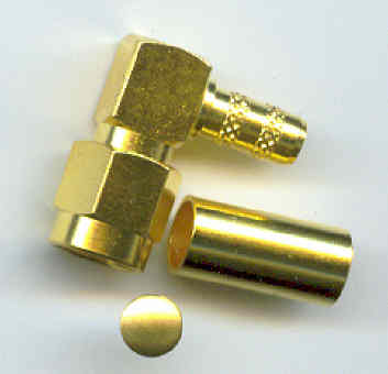 SMA3100-9058, SMA Connector, Right Angle RG58, conventional male pin-0