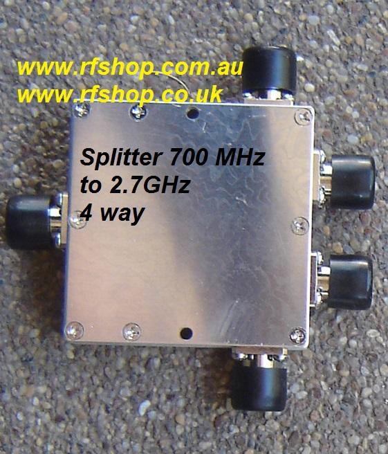 SP-0727-03, 700MHz to 2.7 GHz 4 way Splitter, N(f) conns-0