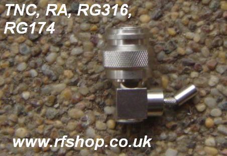 TNC connector, male pin, Right Angle RG316, crimp TNC3100-9316-0