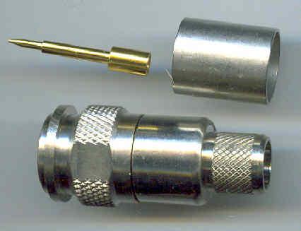 TNC connector, male pin, fits LMR400, crimp, TC-400-TM equiv, TNC3100-L400-0