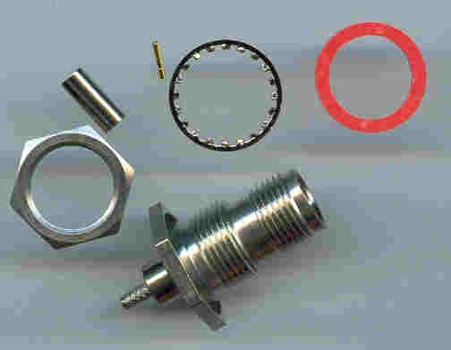 TNC9105-0316, RP-TNC Jack (male pin), panel fitting, RG316, panel fitting, crimp-0