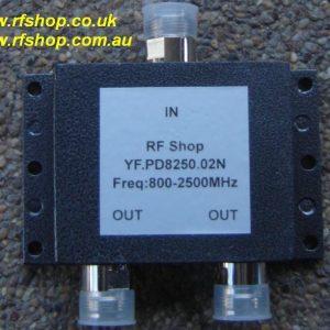 Splitter, 0.8 - 2.5GHz, N Connectors, 2 way, 3dB-0