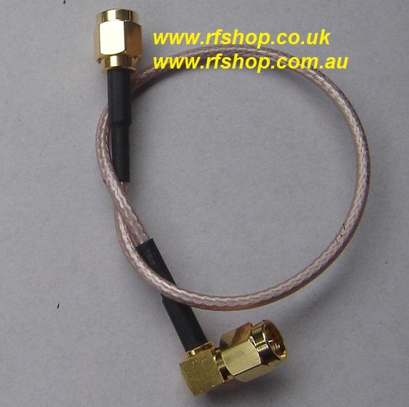 SMA Plug (Male pin) to SMA Plug Right angle (Male pin), RG316 cable, 200mm A30A39-316-200-0