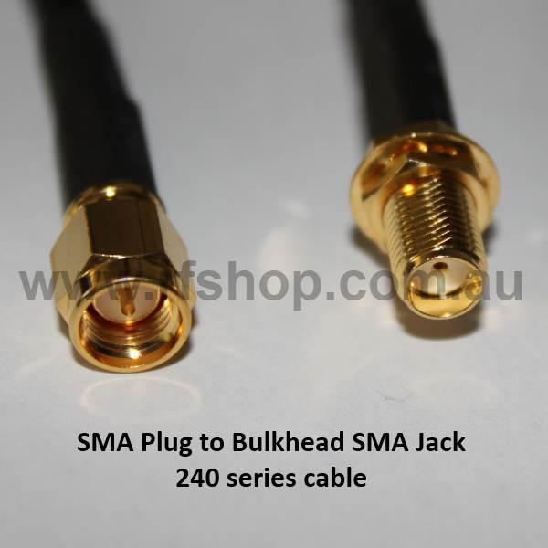 SMA Plug to Bulkhead SMA Jack, 240 series cable, 10m A30A85-240-10000-0
