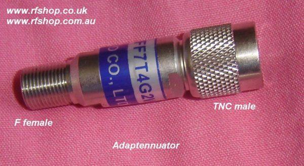 F fem to TNC male Adapter/Attenuator Adaptenuator, 2 Watt, up to 4GHz, 3dB, 75 ohms FAT-TM7FF7T4G2W3-0