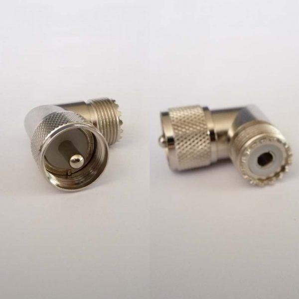 Adapter - UHF Plug (Male pin) to UHF Jack (Female pin) - Right Angle Version CH-MP-MJ-RA-0