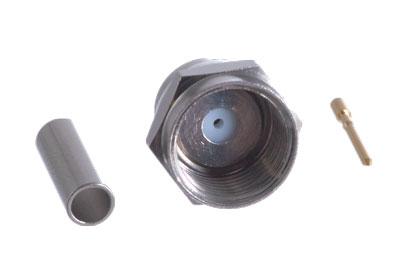 F Plug (Male) Connector, Crimp, fits RG179 75? F3100-0179-CH-0
