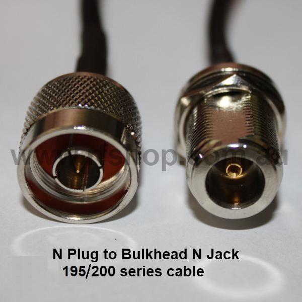 N Plug to N Bulkhead Jack, 200 series cable, 0.5m N30N85-200-500-0
