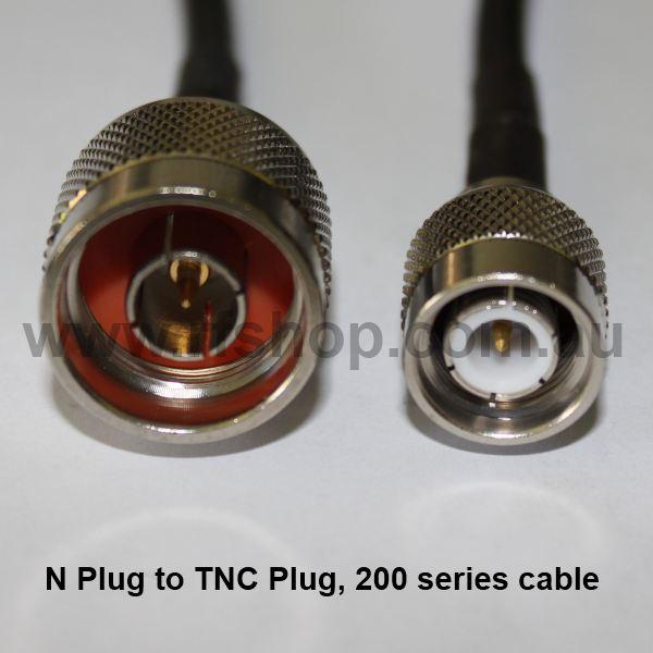 N Plug (Male pin) to TNC Plug (Male pin), 200 series cable, 1m N30T30-200-1000-0