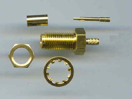 SMA9100L-0316, SMA Connector, male pin, panel mount, RG316, crimp-0