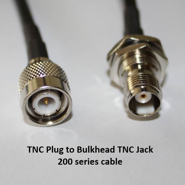 TNC Plug (Male pin) to TNC Jack (Female pin), 200 series cable, 2m-0